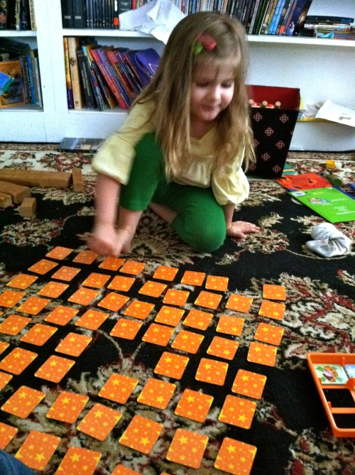 We got this Backyardigans Memory game for $2 at the thrift store.  she loves it.